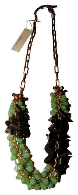 Item - Green Gold New Gold-tone Brown Geometric and Faceted Bead Necklace