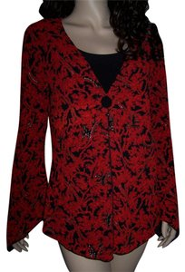 Brittany Black Cardigan Casual Career Top Black, red, gold