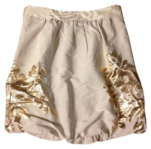 Tibi Mini Skirt Light Tan w Gold