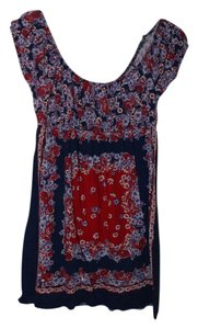 Fleurish short dress Blue, Red, and White Fourth Of July Patterned Off The Shoulder Flowers Short on Tradesy
