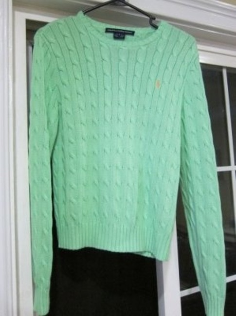 Preload https://item3.tradesy.com/images/ralph-lauren-mint-cable-knit-sweaterpullover-size-12-l-9227-0-0.jpg?width=400&height=650