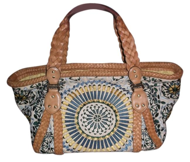 Item - Bag Sierra Embroidery Style Multicolor Leather /Canvas /Knit Tote