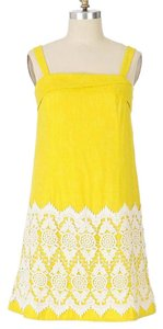Anthropologie short dress yellow, white Yellow Cloud Floreat Mini Lace Crochet Shift Tent 60's Mod on Tradesy