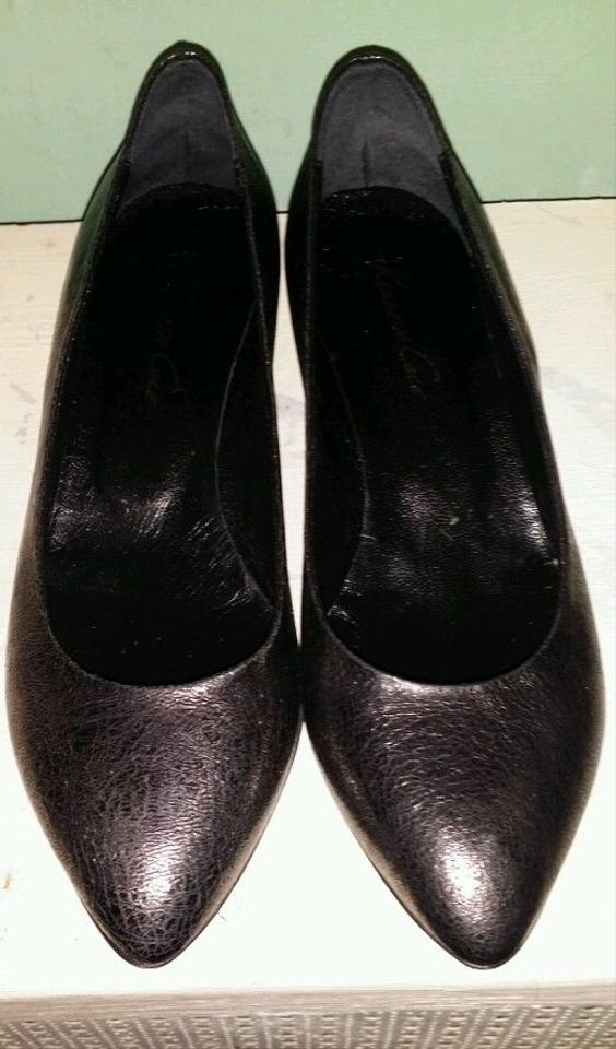 f30ee56a207 Kenneth Cole Leather Kitten Heels Italian Leather Metallic Pewter Pumps  Image 4. 12345
