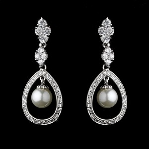 Elegance By Carbonneau Cz And Pearl Drop Wedding Earrings