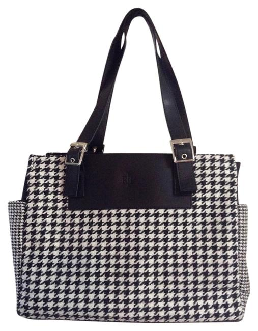 Item - Houndstooth Black / White Fabric with Leather Details Tote