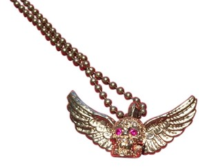 Chrome Hearts Chrome Hearts Authentic Foti With Wings Necklace .925 SS Ruby Eyes Diamond Face