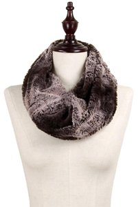 Horizontal Stripe Pattern Faux Fur Tube Scarf Brown