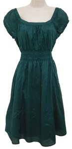 Mossimo Supply Co. short dress Green Cotton Ruching Scoop Back on Tradesy
