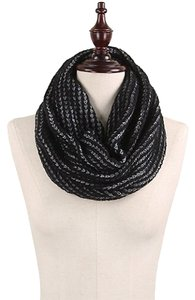 Other Two Tone Rib Knitted Infinity Scarf Black