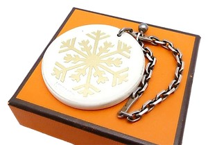 Hermès Authentic Hermes Sterling Silver and Leather Snowflake Bag Charm