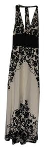 White House | Black Market Ivy Leaf Swirl Pattern Fancy Long Halter Smooth Waistband Dress