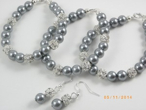 Grey Of 8 Bracelet and Earrings Bridesmaid Pearl Bridesmaid Bracelet Pink Pearl Bracelet Jewelry Set