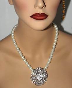 Other Vintage Style Pearl Wedding Bridal Necklace Pearl Rhinestone Flower Necklace Ivory Pearl
