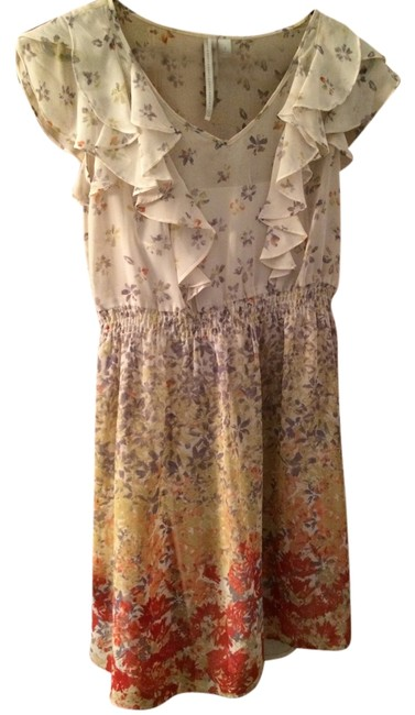 LC Lauren Conrad short dress Cream with floral pattern Empire Waist on Tradesy