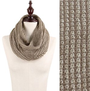 Two Tone Rib Knitted Infinity Scarf Taupe