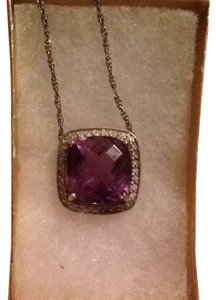 fine jewelry Sterling Silver Setting Cushion Amethyst With Diamonds