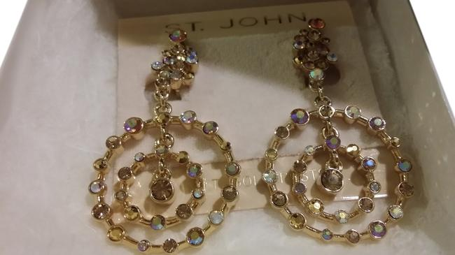 Item - Gold with Multi Color Stones Chandelier Crystal Earrings