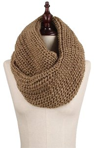 Other Chunky Solid Rib Knit Infinity Scarf Camel