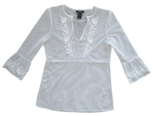 Express Embroidered Mesh Top White