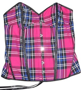 Hell Bunny Plaid Punk Top pink