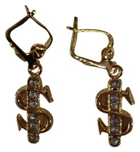 Boutique New Gold Tone CZ Dollar Sign Fashion Earrings E47