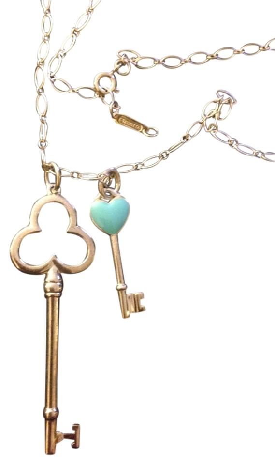 68dedea56 Tiffany & Co. Sterling Silver Price Reduced Oval Link Chain with Heart Key  and Trefoil Key Pendants Necklace