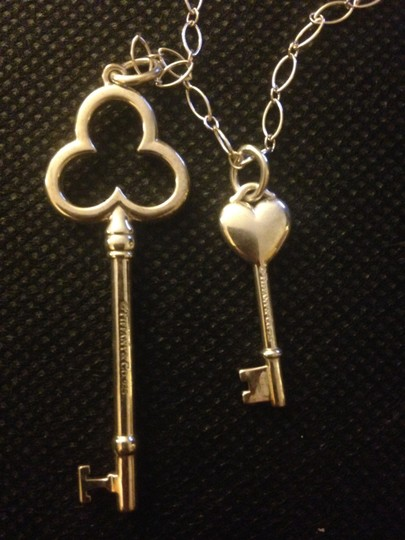 Tiffany & Co. PRICE REDUCED!! Tiffany & Co. Sterling Silver Oval Link Chain with Heart Key and Trefoil Key Pendants