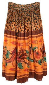 Byblos Gucci 70s Italian Vintage Print Skirt Orange