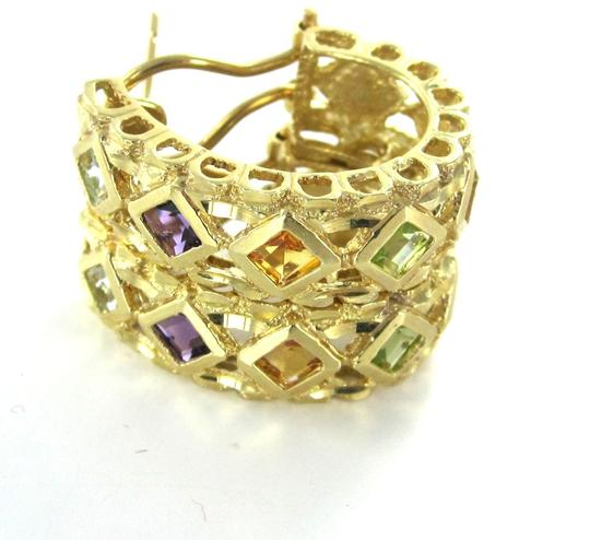 Other 14KT SOLID YELLOW GOLD EARRINGS HOOP MULTI COLOR PRECIOUS STONES 9.9 GRAMS JEWEL