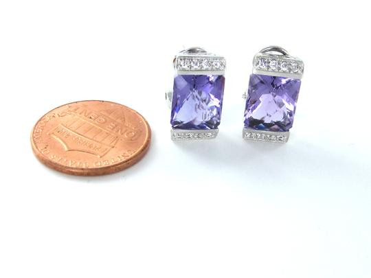 Other 14KT SOLID WHITE GOLD EARRINGS AMETHYST WHITE STONES FINE JEWELRY 5.5 GRAMS