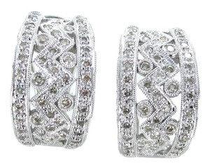 JHK 14KT SOLID WHITE GOLD EARRINGS 146 DIAMOND JHK LUXURY JEWELRY ESTATE 6.8 GRAM