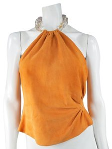 Oscar de la Renta Crystal Halter Summer Retro Top Orange