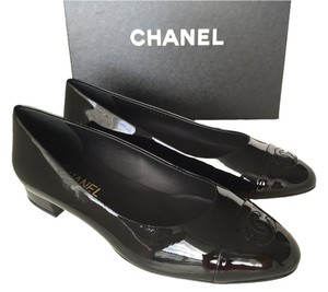 Chanel Ballet Calfskin Patent Leather BLACK Flats