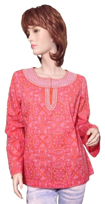 Preload https://item1.tradesy.com/images/talbots-orange-pink-yellow-embroidered-tunic-size-8-m-924625-0-0.jpg?width=400&height=650