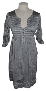 Max Studio short dress Gray Shirt Smocked Tabbed Sleeve 100% Cotton Bohemian Boho New on Tradesy