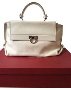 Salvatore Ferragamo Sofia Large Sofia Satchel in off white/ Ivory