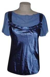Max Studio Satin Chiffon Boho Bohemian Peasant Date Night Lovely Top Blue