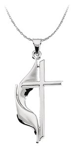 LoveBrightJewelry Methodist Cross Pendant in Sterling Silver Holy Gifts