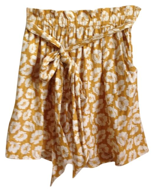 American Eagle Outfitters Mini Skirt Mustard and cream