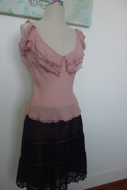 Other Lace Emblished Great Gatsby Classy Classic Classic Sexy Chic Skirt Black and Pink