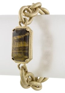 Unknown Faux Cat Eye Stone Stretch Gold Chain Bracelet