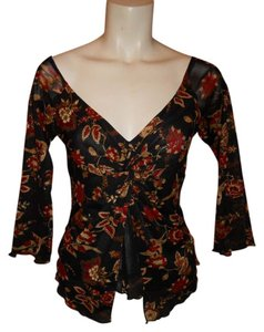 Surrealist Top black, red & gold print