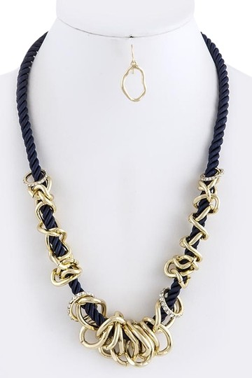 Unknown Gold and Crystal Ring Cluster Navy Blue Rope Necklace Set