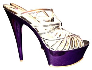 Penny Loves Kenny Love 8 Purple Metallic Platforms