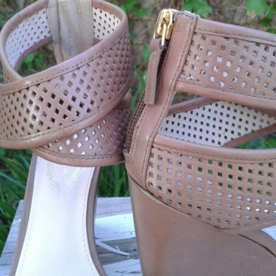 Elie Tahari Leather Ankle Strap Bisque Wedges