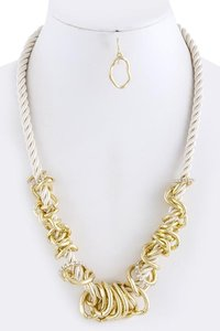 Unknown Gold and Crystal Ring Cluster Rope Necklace Set