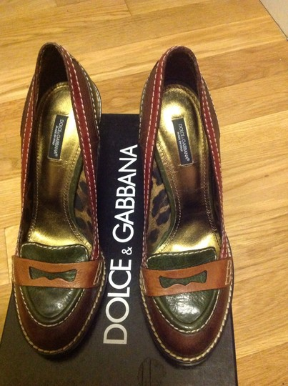 Dolce & Gabbana 80995 multicolor- brown green beige Mules