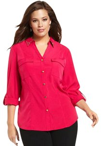 JM Collection Studded Collar Roll Tab Sleeve Button Down Shirt Dark Pink