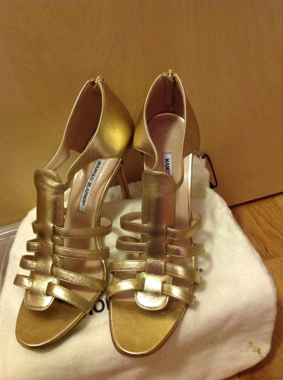 Manolo Blahnik Leather gold Sandals